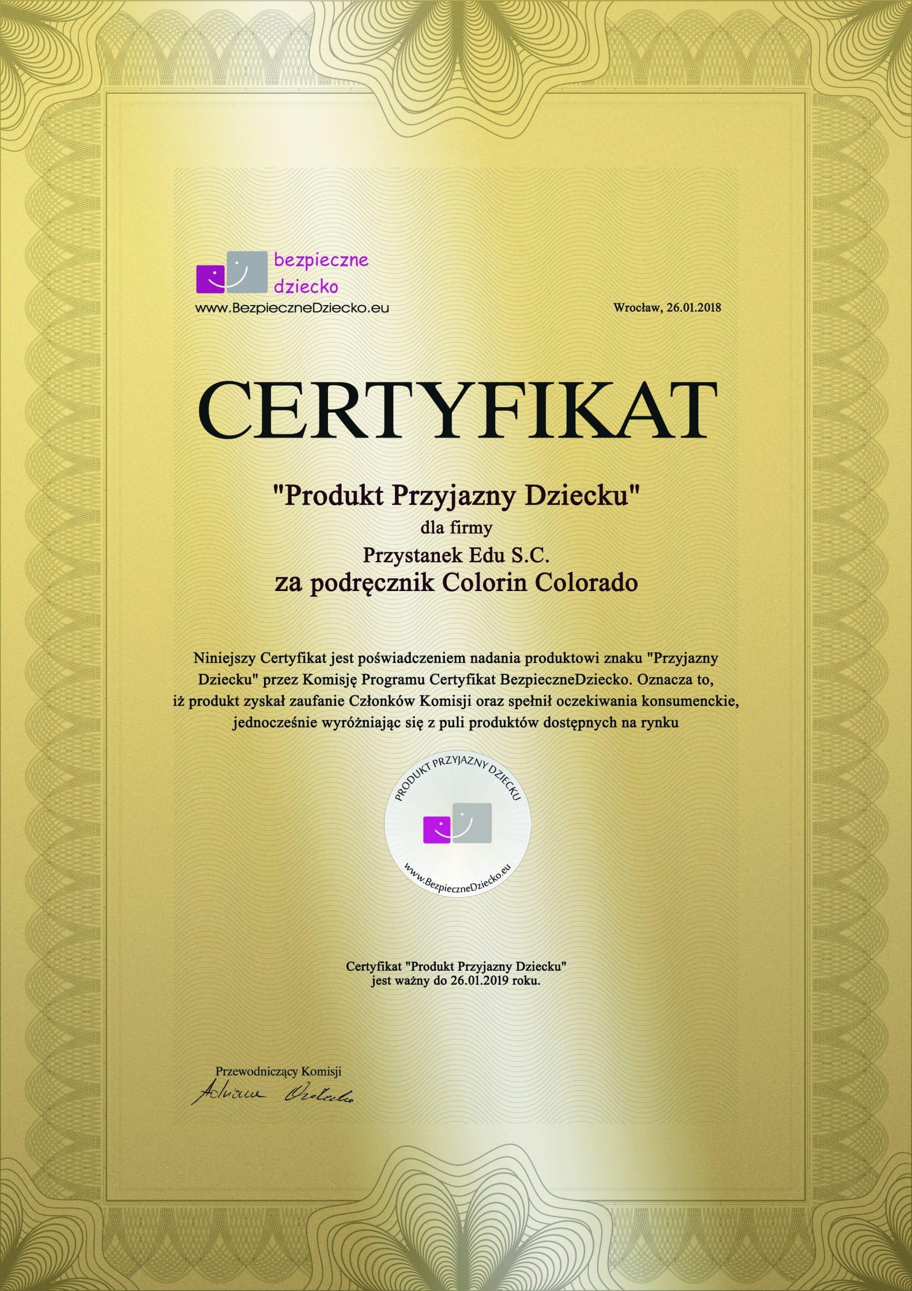 Certyfikat Produkt Przyjazny Dziecku
